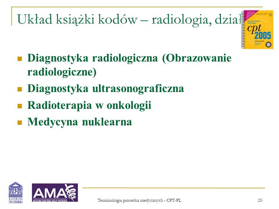 Terminologia procedur medycznych - CPT-PL 20 Układ książki kodów – radiologia, działy Diagnostyka radiologiczna (Obrazowanie radiologiczne) Diagnostyk