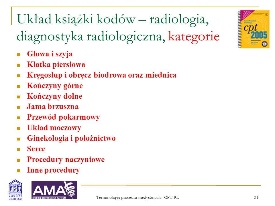 Terminologia procedur medycznych - CPT-PL 21 Układ książki kodów – radiologia, diagnostyka radiologiczna, kategorie Głowa i szyja Klatka piersiowa Krę