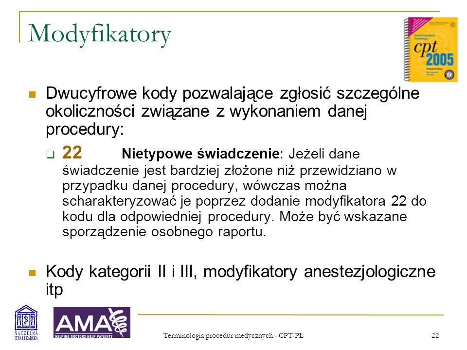 Terminologia procedur medycznych - CPT-PL 22 Modyfikatory Dwucyfrowe kody pozwalające zgłosić szczególne okoliczności związane z wykonaniem danej proc