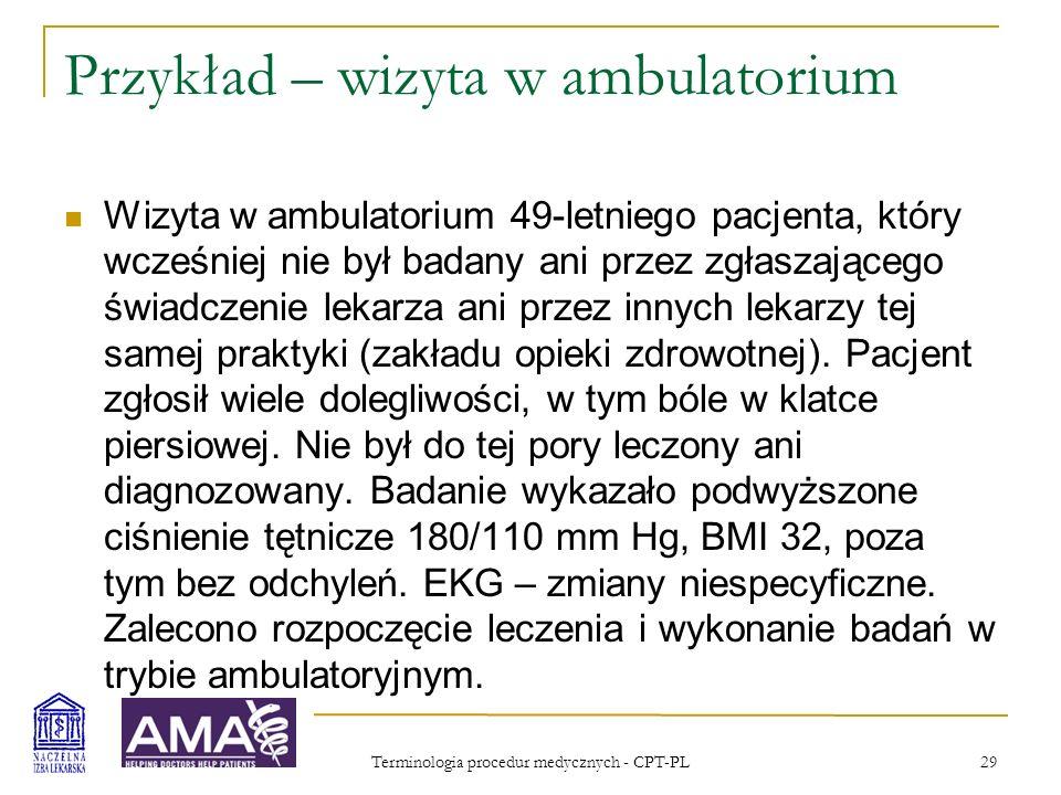 Terminologia procedur medycznych - CPT-PL 30 Przykład – wizyta w ambulatorium Rozdział.