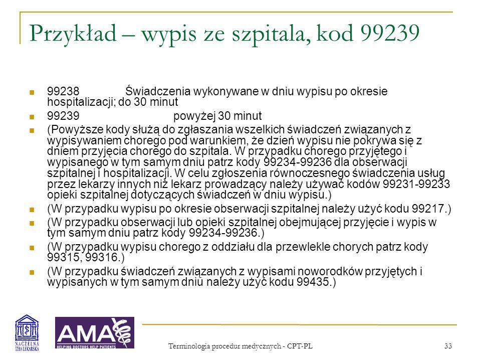 Terminologia procedur medycznych - CPT-PL 33 Przykład – wypis ze szpitala, kod 99239 99238Świadczenia wykonywane w dniu wypisu po okresie hospitalizac