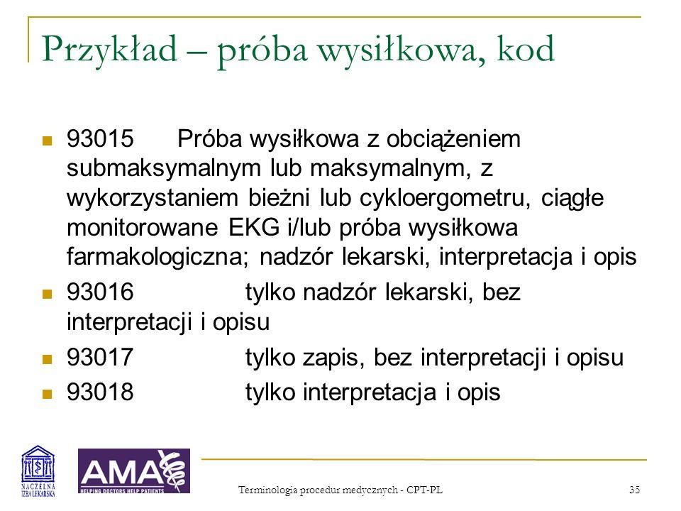 Terminologia procedur medycznych - CPT-PL 36 Przykład – Pozytronowa Tomografia Emisyjna Badanie PET mózgu z powodu podejrzenia wznowy guza Rozdział.