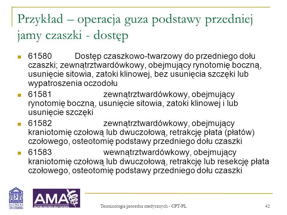 Terminologia procedur medycznych - CPT-PL 43 Przykład – operacja guza podstawy przedniej jamy czaszki – resekcja (procedura zasadnicza) 61600Usunięcie lub wycięcie zmiany nowotworowej, naczyniowej lub zapalnej podstawy przedniego dołu czaszki; zewnątrztwardówkowo 61601wewnątrztwardówkowo, obejmujące zamknięcie opony twardej z przeszczepem lub bez