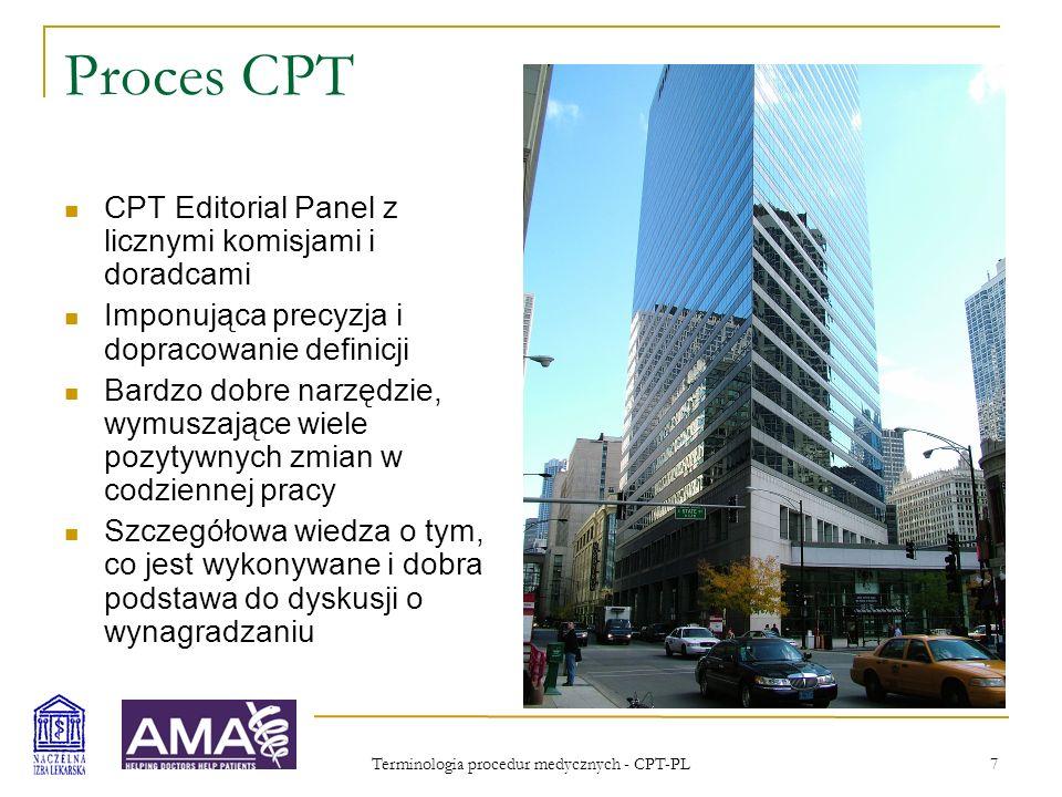 Terminologia procedur medycznych - CPT-PL 7 Proces CPT CPT Editorial Panel z licznymi komisjami i doradcami Imponująca precyzja i dopracowanie definic