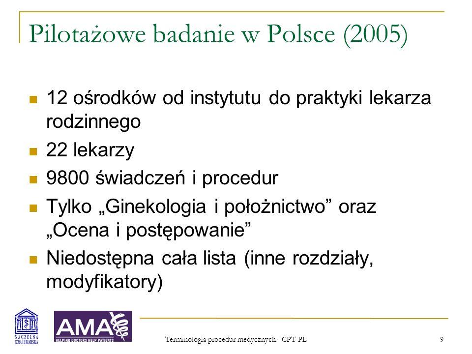 Terminologia procedur medycznych - CPT-PL 9 Pilotażowe badanie w Polsce (2005) 12 ośrodków od instytutu do praktyki lekarza rodzinnego 22 lekarzy 9800