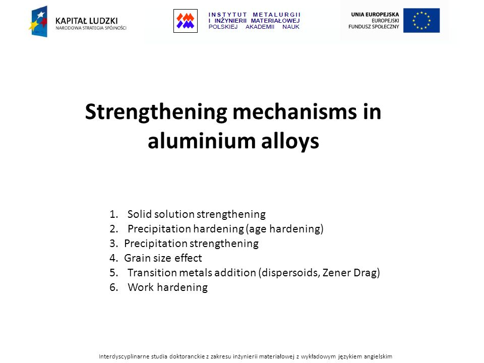 Coherency strain hardening Fine spacing Ideal spacingCoarse spacing t τ Interaction of internal strain fields caused by precipitates and dislocation line.