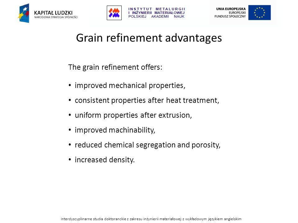 Interdyscyplinarne studia doktoranckie z zakresu inżynierii materiałowej z wykładowym językiem angielskim Grain refinement advantages The grain refine