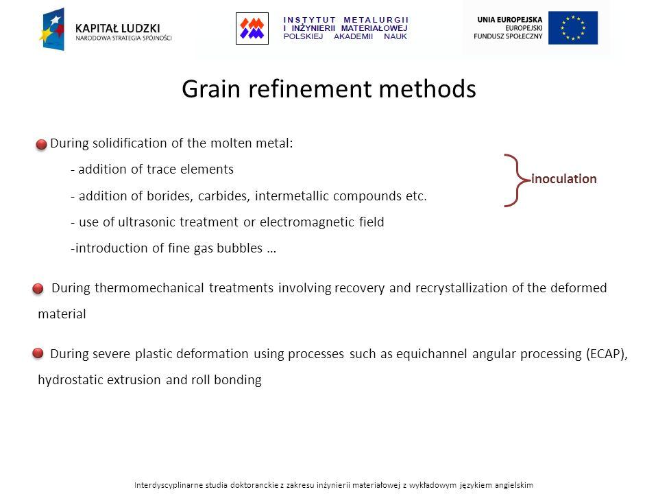 Interdyscyplinarne studia doktoranckie z zakresu inżynierii materiałowej z wykładowym językiem angielskim Grain refinement methods During solidificati