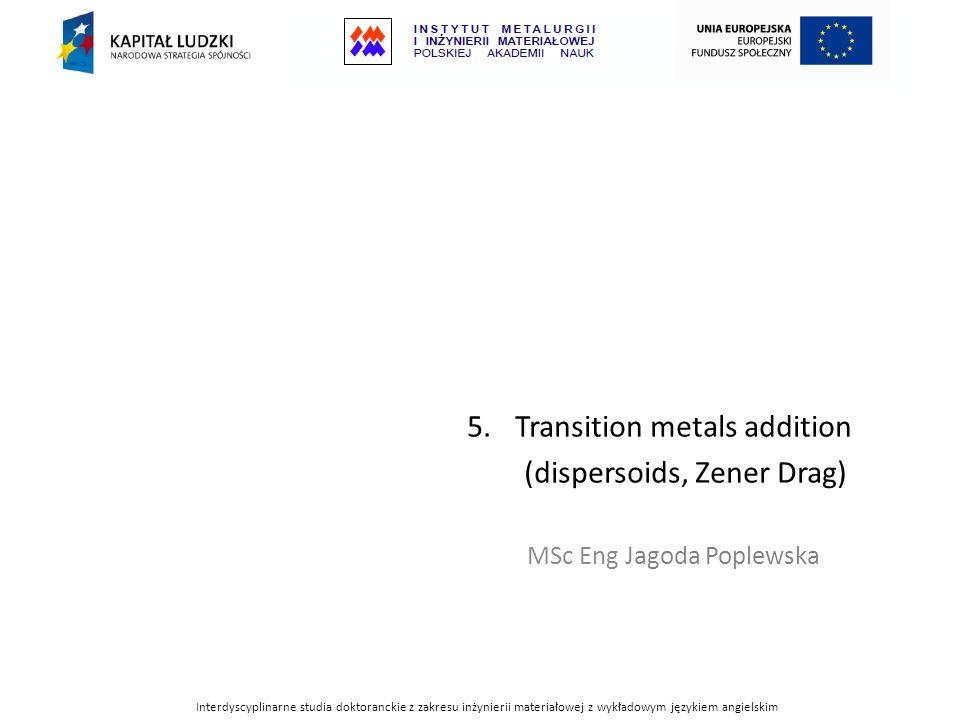 5.Transition metals addition (dispersoids, Zener Drag) MSc Eng Jagoda Poplewska Interdyscyplinarne studia doktoranckie z zakresu inżynierii materiałow