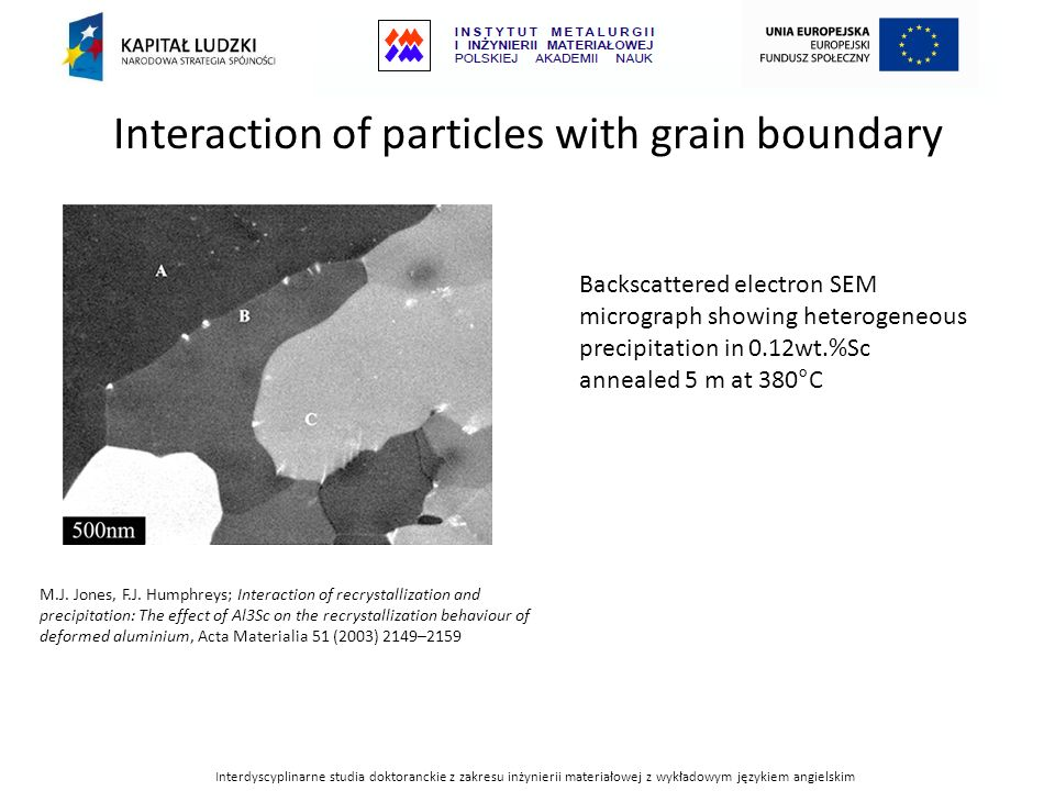 Interaction of particles with grain boundary Backscattered electron SEM micrograph showing heterogeneous precipitation in 0.12wt.%Sc annealed 5 m at 3