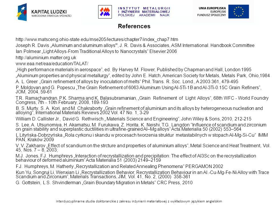 Interdyscyplinarne studia doktoranckie z zakresu inżynierii materiałowej z wykładowym językiem angielskim References http://www.matsceng.ohio-state.ed