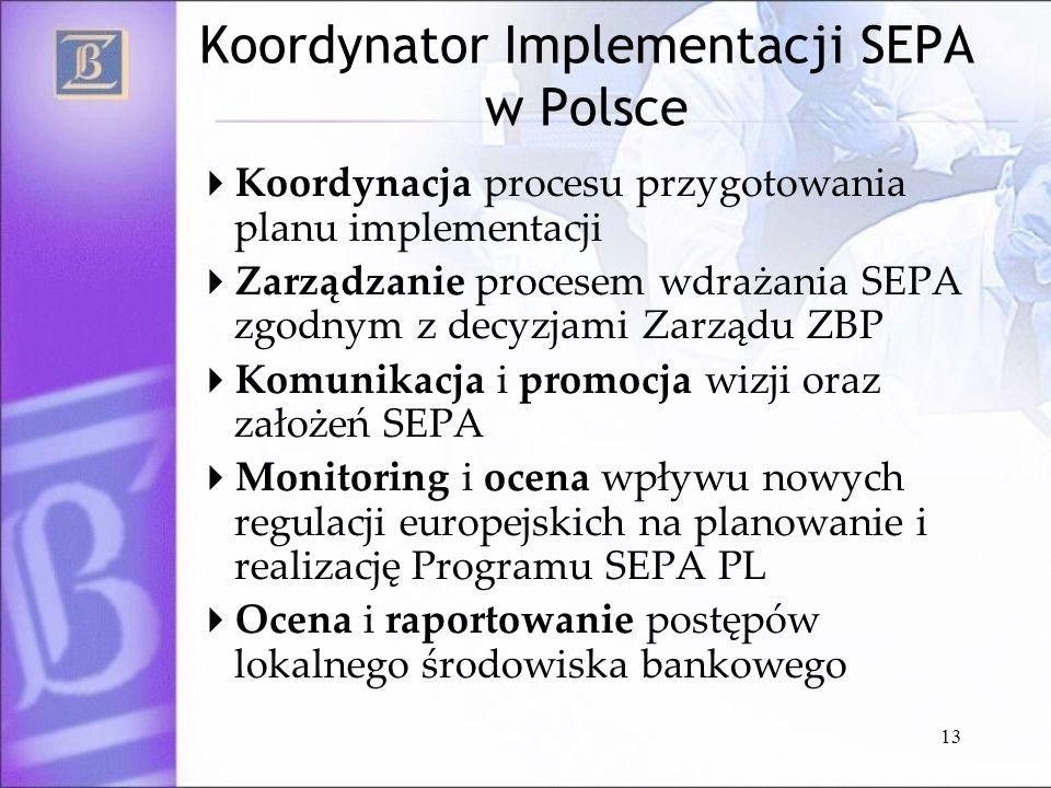 13 Koordynator Implementacji SEPA w Polsce Koordynacja procesu przygotowania planu implementacji Zarządzanie procesem wdrażania SEPA zgodnym z decyzja