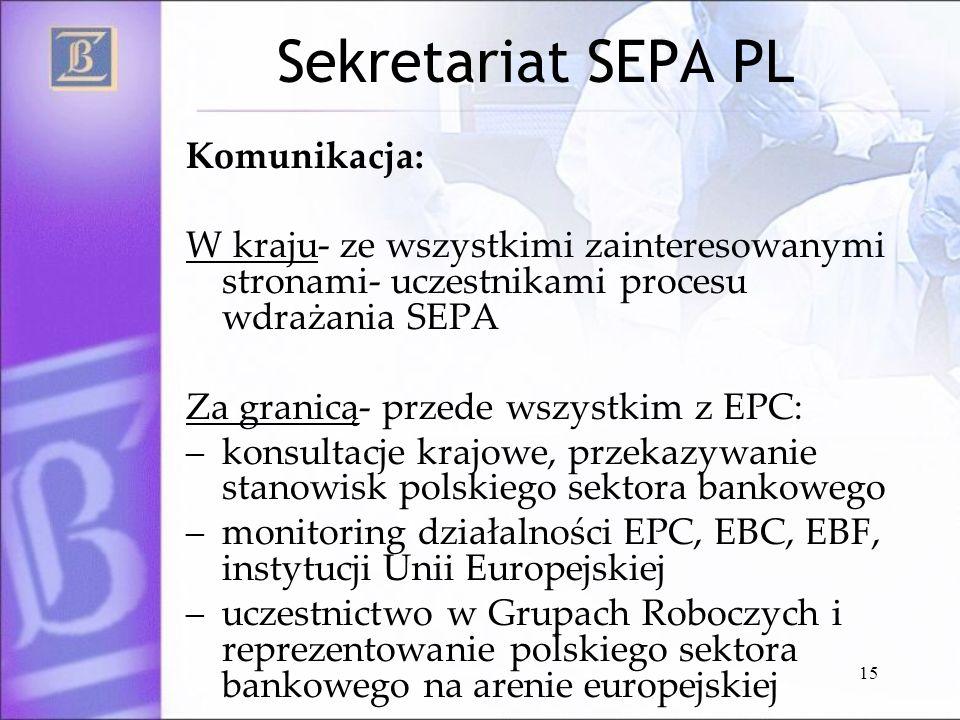 15 Sekretariat SEPA PL Komunikacja: W kraju- ze wszystkimi zainteresowanymi stronami- uczestnikami procesu wdrażania SEPA Za granicą- przede wszystkim