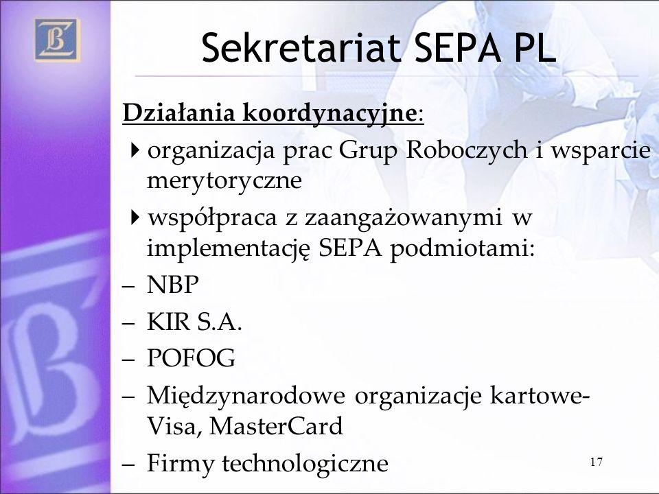 17 Sekretariat SEPA PL Działania koordynacyjne: organizacja prac Grup Roboczych i wsparcie merytoryczne współpraca z zaangażowanymi w implementację SE
