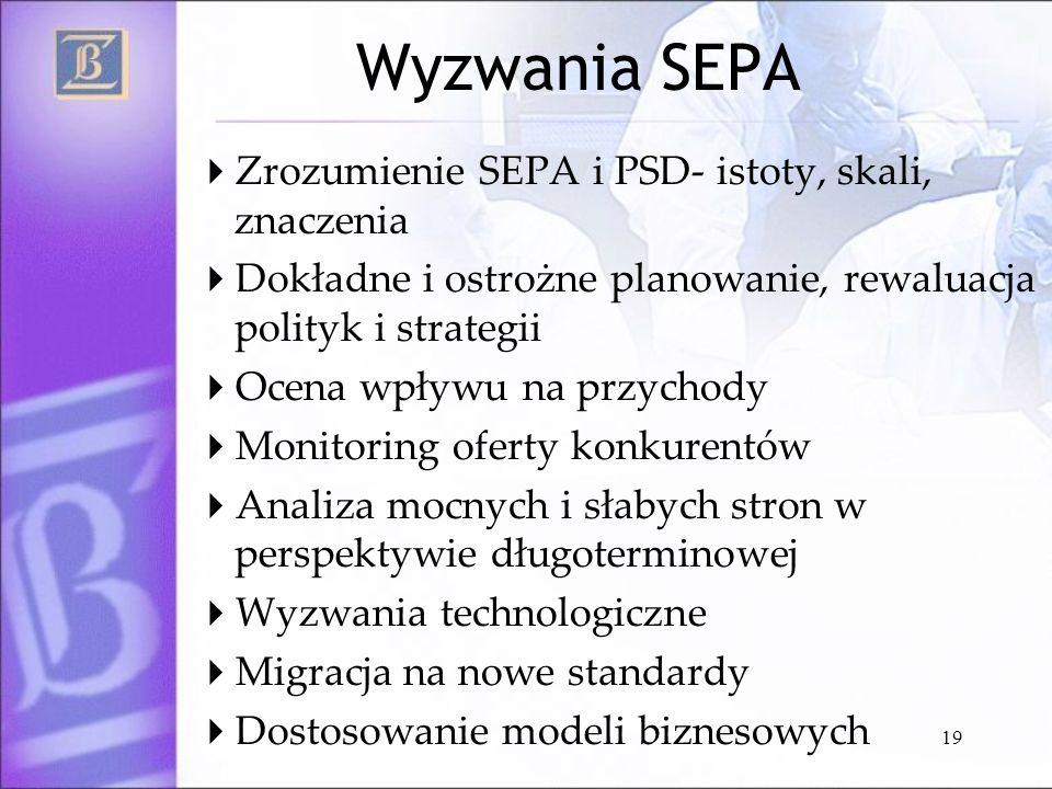 19 Wyzwania SEPA Zrozumienie SEPA i PSD- istoty, skali, znaczenia Dokładne i ostrożne planowanie, rewaluacja polityk i strategii Ocena wpływu na przyc
