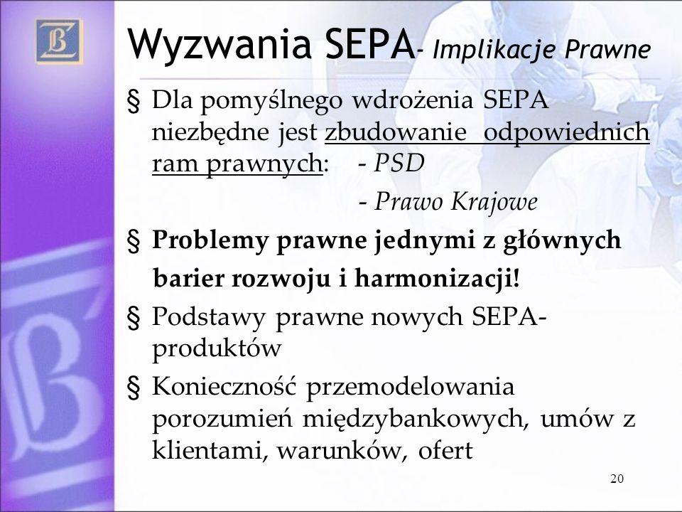 20 Wyzwania SEPA - Implikacje Prawne § Dla pomyślnego wdrożenia SEPA niezbędne jest zbudowanie odpowiednich ram prawnych: - PSD - Prawo Krajowe § Prob