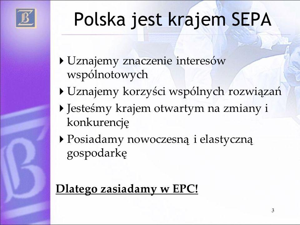 3 Polska jest krajem SEPA Uznajemy znaczenie interesów wspólnotowych Uznajemy korzyści wspólnych rozwiązań Jesteśmy krajem otwartym na zmiany i konkur