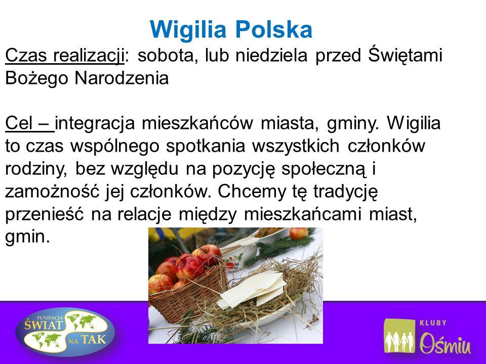 Wigilia Polska Czas realizacji: sobota, lub niedziela przed Świętami Bożego Narodzenia Cel – integracja mieszkańców miasta, gminy. Wigilia to czas wsp
