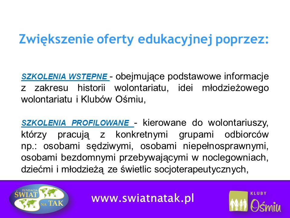 Zwiększenie oferty edukacyjnej poprzez: SZKOLENIA WSTĘPNE - obejmujące podstawowe informacje z zakresu historii wolontariatu, idei młodzieżowego wolon