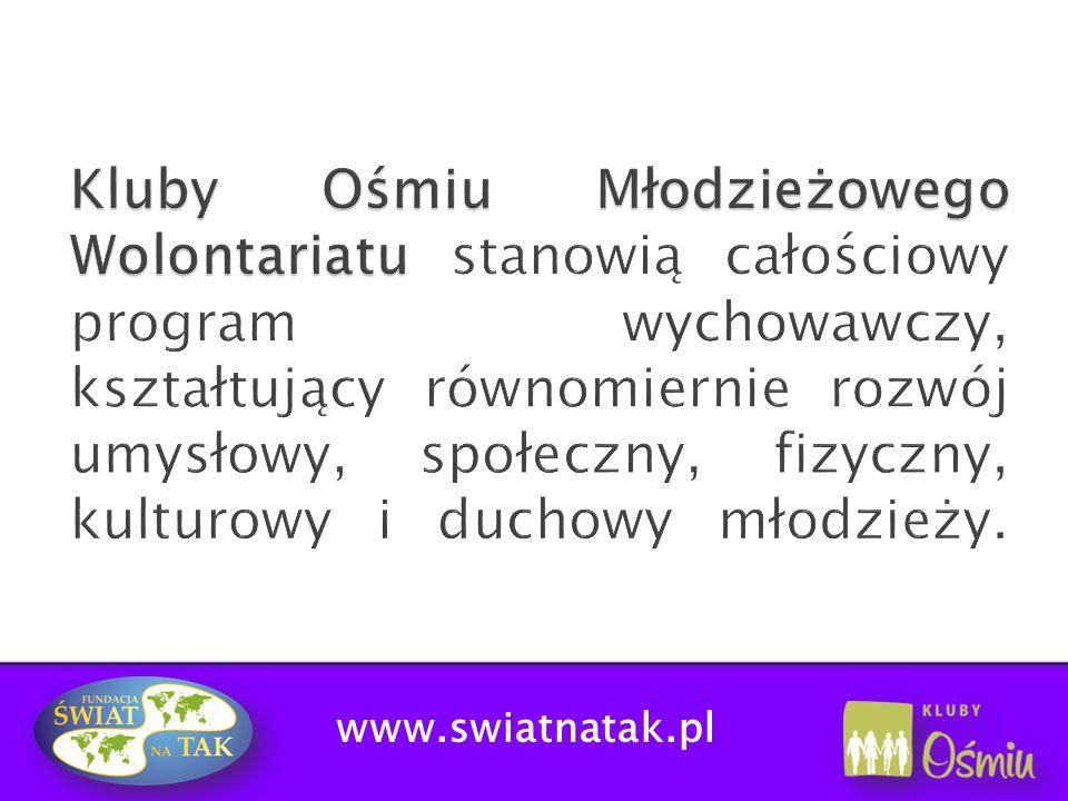 www.swiatnatak.pl Zwiększenie oferty edukacyjnej poprzez: SZKOLENIA FORMACYJNE - przeznaczone dla wszystkich wolontariuszy, dotyczą analizy zagadnień ważnych dla młodzieży np.: patriotyzm, granice tolerancji, służba życiu czy służba śmierci, bezinteresowność-prywata.