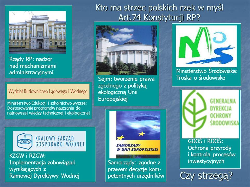 Kto ma strzec polskich rzek w myśl Art.74 Konstytucji RP? Rządy RP: nadzór nad mechanizmami administracyjnymi Ministerstwo Edukacji i szkolnictwo wyżs