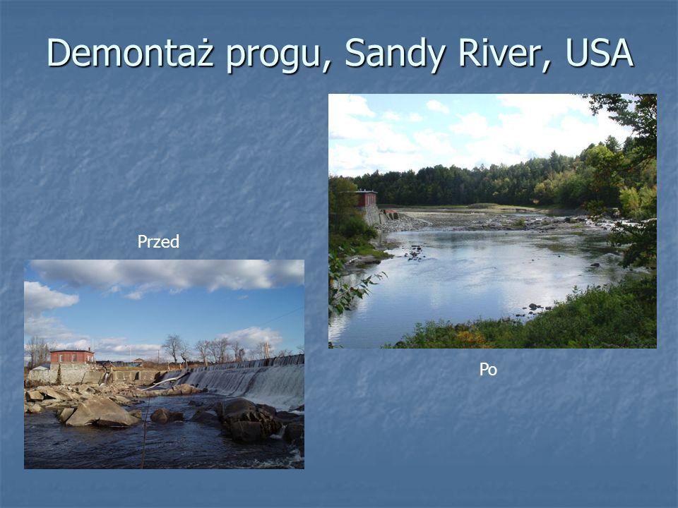 Demontaż progu, Sandy River, USA Przed Po
