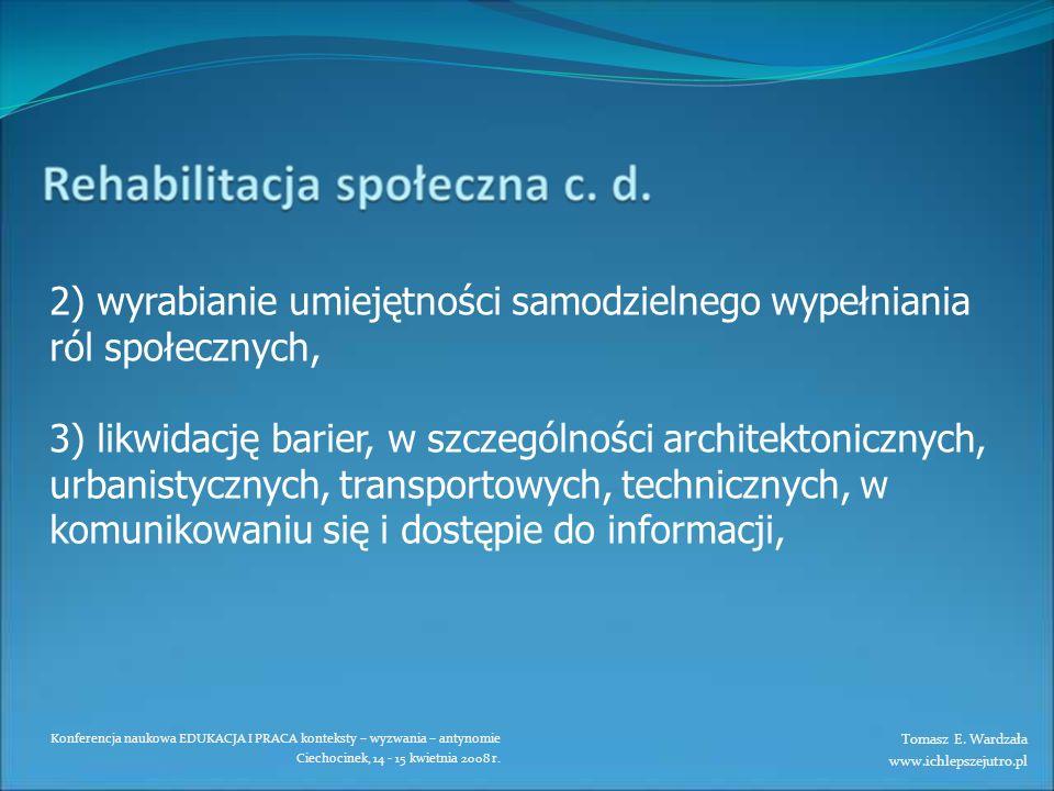 Konferencja naukowa EDUKACJA I PRACA konteksty – wyzwania – antynomie Ciechocinek, 14 - 15 kwietnia 2008 r. 2) wyrabianie umiejętności samodzielnego w