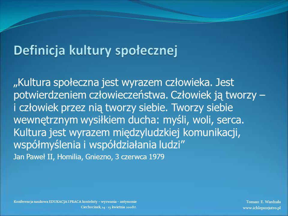 Konferencja naukowa EDUKACJA I PRACA konteksty – wyzwania – antynomie Ciechocinek, 14 - 15 kwietnia 2008 r. Kultura społeczna jest wyrazem człowieka.