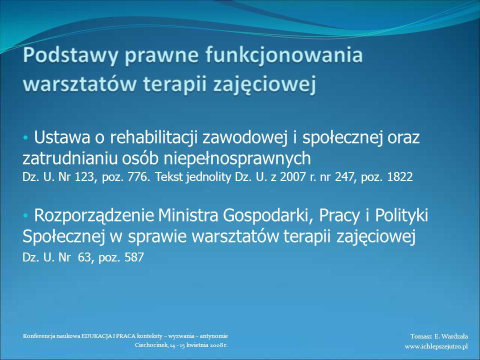 Konferencja naukowa EDUKACJA I PRACA konteksty – wyzwania – antynomie Ciechocinek, 14 - 15 kwietnia 2008 r. Ustawa o rehabilitacji zawodowej i społecz