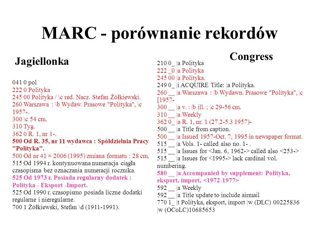 MARC - The Library of Congress 210 0_ |a Polityka 222 _0 |a Polityka 245 00 |a Polityka.
