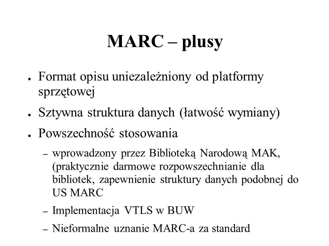 MARC - porównanie rekordów 041 0 pol 222 0 Polityka 245 00 Polityka / \c red.