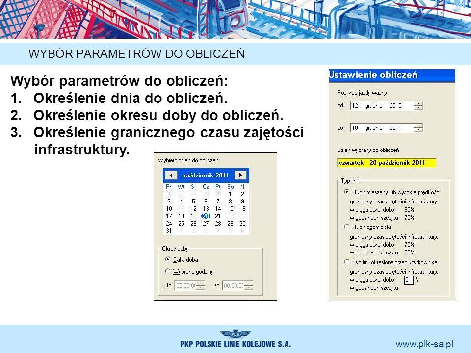 www.plk-sa.pl WYBÓR PARAMETRÓW DO OBLICZEŃ Wybór parametrów do obliczeń: 1.Określenie dnia do obliczeń. 2.Określenie okresu doby do obliczeń. 3.Określ
