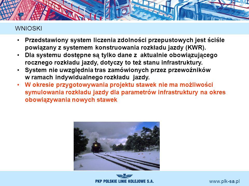 www.plk-sa.pl WNIOSKI Przedstawiony system liczenia zdolności przepustowych jest ściśle powiązany z systemem konstruowania rozkładu jazdy (KWR). Dla s