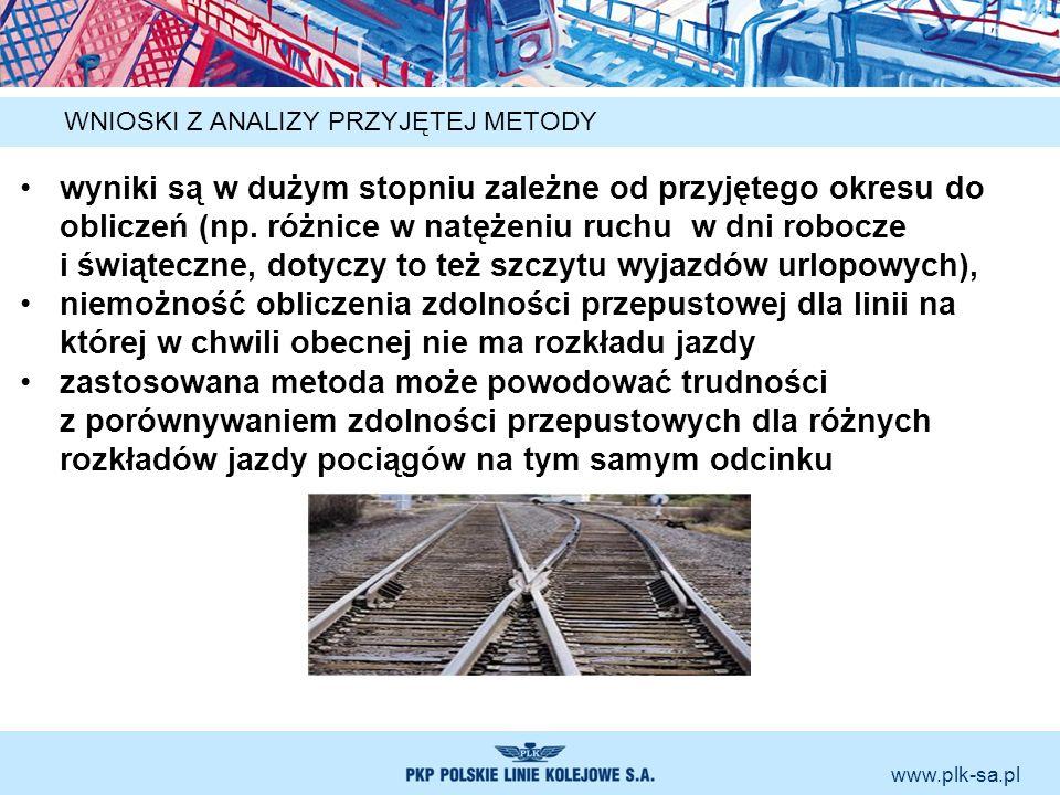 www.plk-sa.pl WNIOSKI Z ANALIZY PRZYJĘTEJ METODY wyniki są w dużym stopniu zależne od przyjętego okresu do obliczeń (np. różnice w natężeniu ruchu w d