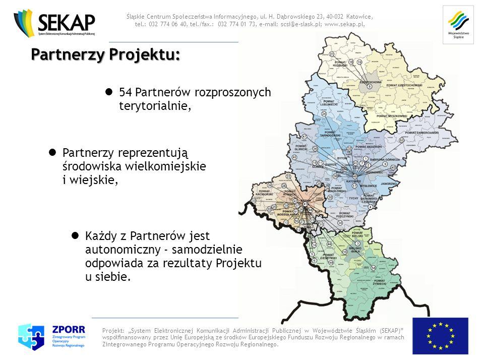 Partnerzy Projektu: Projekt: System Elektronicznej Komunikacji Administracji Publicznej w Województwie Śląskim (SEKAP) współfinansowany przez Unię Eur
