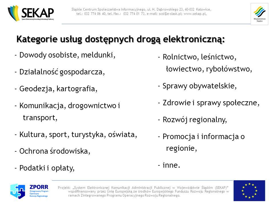 Kategorie usług dostępnych drogą elektroniczną: Projekt: System Elektronicznej Komunikacji Administracji Publicznej w Województwie Śląskim (SEKAP) wsp