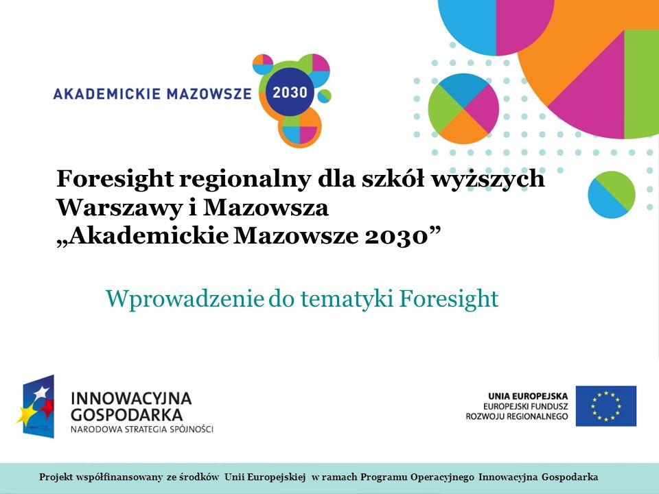 www.akademickiemazowsze2030.plWarszawa, 09.12.2010 Rodzaje foresightów Środowisko naukowe i biznesowe Proces foresightu obejmuje intensywne, powtarzające się okresy otwartej refleksji, tworzenia sieci, konsultacji oraz dyskusji, prowadzące do wspólnego doskonalenia wizji przyszłości oraz powszechnej własności strategii, w celu eksplorowania długoterminowych możliwości otwartych dzięki wpływowi nauki, technologii oraz innowacji na społeczeństwo.