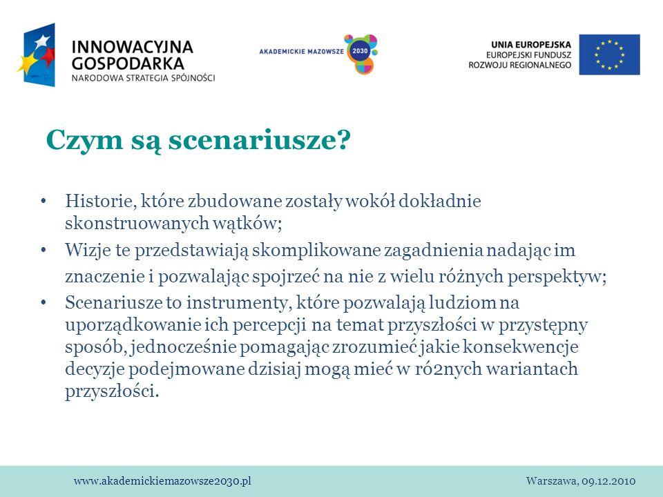 www.akademickiemazowsze2030.plWarszawa, 09.12.2010 Czym są scenariusze? Historie, które zbudowane zostały wokół dokładnie skonstruowanych wątków; Wizj