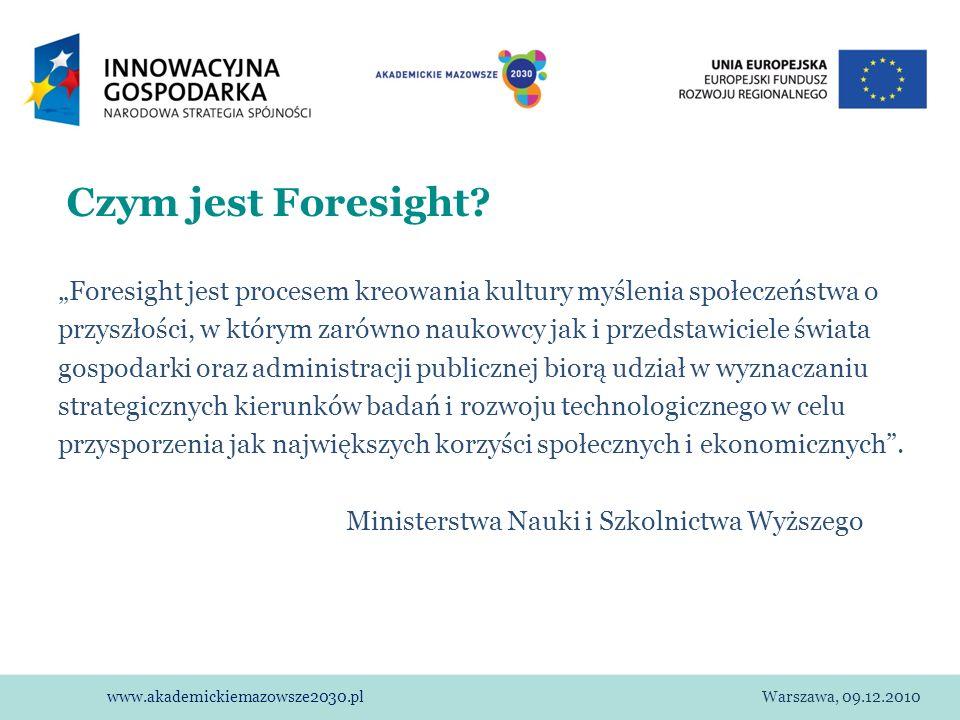 www.akademickiemazowsze2030.plWarszawa, 09.12.2010 Czym jest Foresight? Foresight jest procesem kreowania kultury myślenia społeczeństwa o przyszłości