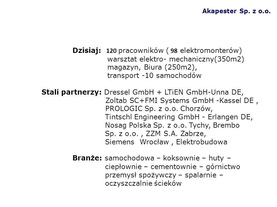 Akapester Sp. z o.o. Dzisiaj: 120 pracowników ( 98 elektromonterów) warsztat elektro- mechaniczny(350m2) magazyn, Biura (250m2), transport -10 samocho