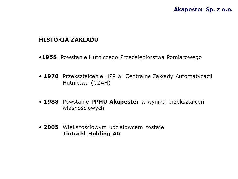 Akapester Sp. z o.o. HISTORIA ZAKŁADU 1958 Powstanie Hutniczego Przedsiębiorstwa Pomiarowego 1970Przekształcenie HPP w Centralne Zakłady Automatyzacji