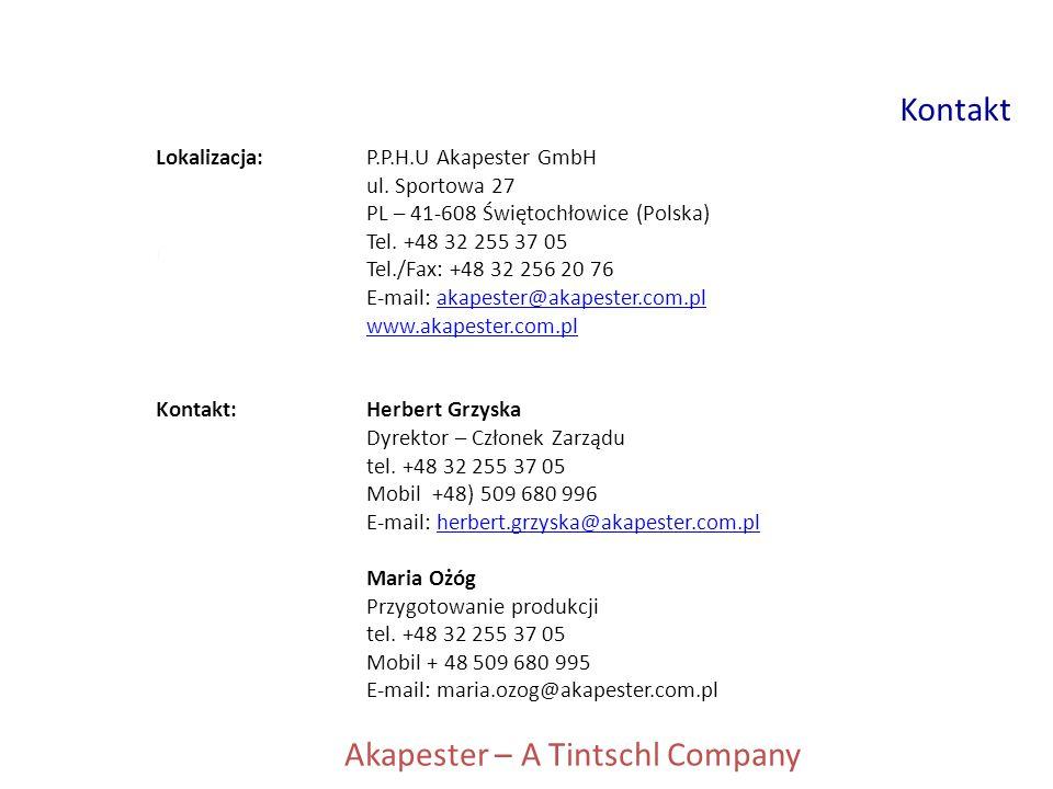 Lokalizacja:P.P.H.U Akapester GmbH ul. Sportowa 27 PL – 41-608 Świętochłowice (Polska) Tel. +48 32 255 37 05 Tel./Fax: +48 32 256 20 76 E-mail: akapes