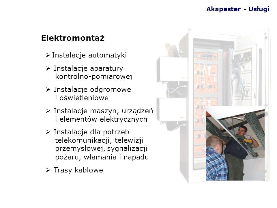 Instalacje automatyki Instalacje aparatury kontrolno-pomiarowej Instalacje odgromowe i oświetleniowe Instalacje maszyn, urządzeń i elementów elektrycz