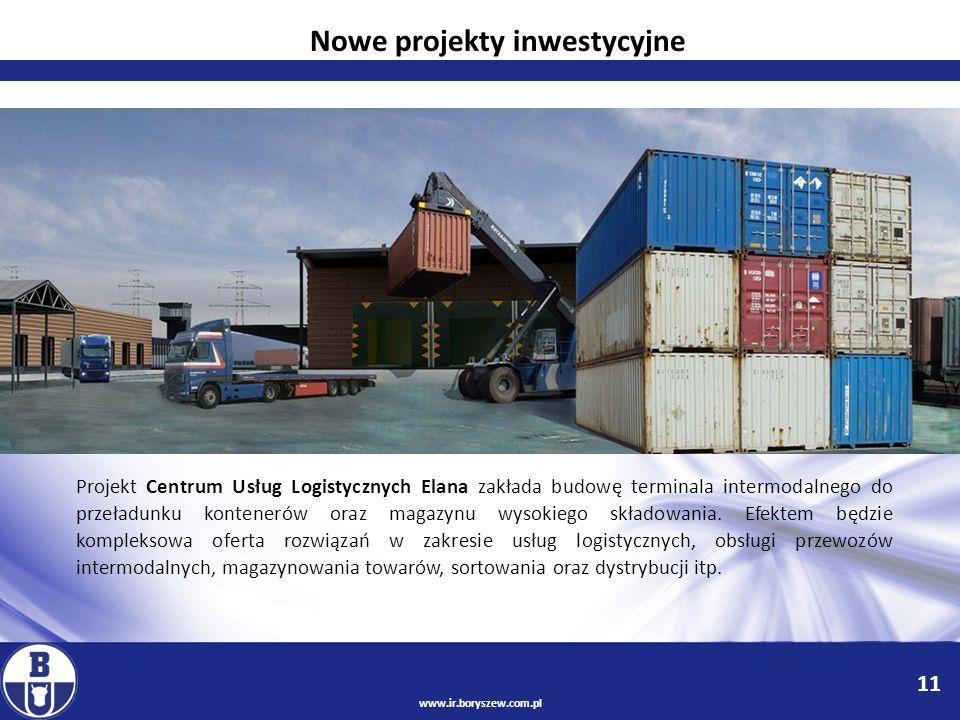 11 www.ir.boryszew.com.pl Projekt Centrum Usług Logistycznych Elana zakłada budowę terminala intermodalnego do przeładunku kontenerów oraz magazynu wy