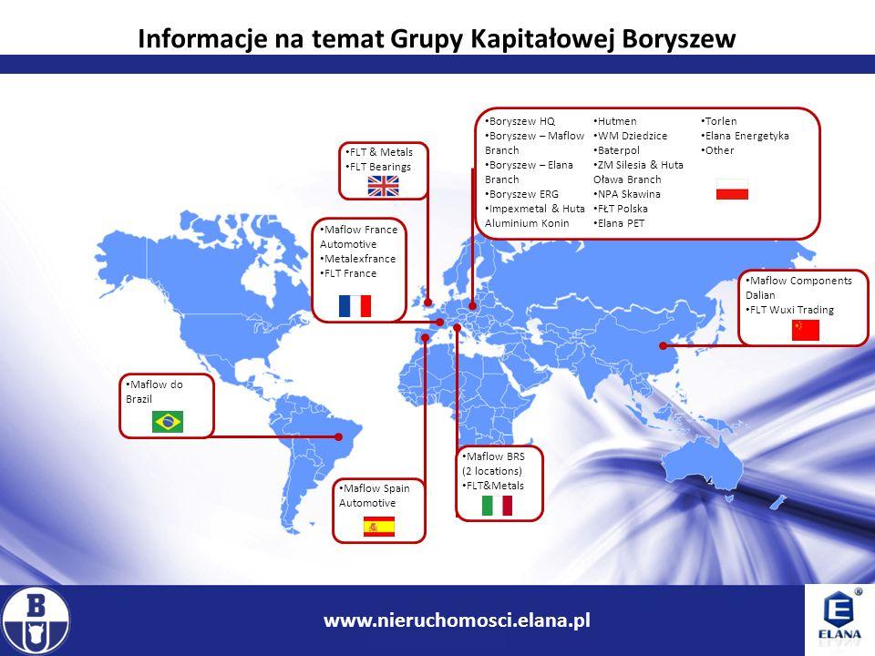 3 www.ir.boryszew.com.pl Informacje na temat Grupy Kapitałowej Boryszew www.nieruchomosci.elana.pl Boryszew HQ Boryszew – Maflow Branch Boryszew – Ela