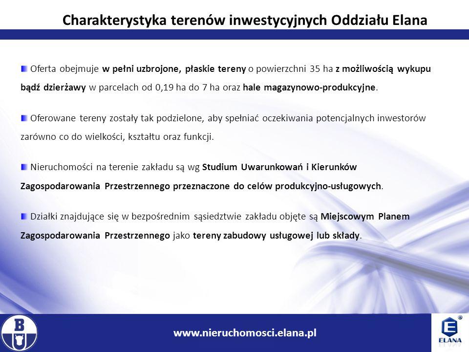 8 www.ir.boryszew.com.pl www.nieruchomosci.elana.pl Wszystkie prezentowane nieruchomości są uzbrojone w podstawowe media: energia elektryczna; woda surowa i woda pitna; łącza telekomunikacyjne.
