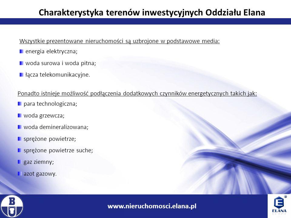 8 www.ir.boryszew.com.pl www.nieruchomosci.elana.pl Wszystkie prezentowane nieruchomości są uzbrojone w podstawowe media: energia elektryczna; woda su