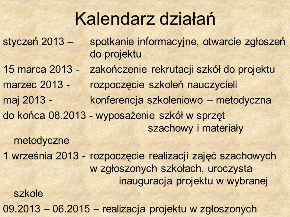 Kalendarz działań styczeń 2013 – spotkanie informacyjne, otwarcie zgłoszeń do projektu 15 marca 2013 - zakończenie rekrutacji szkół do projektu marzec