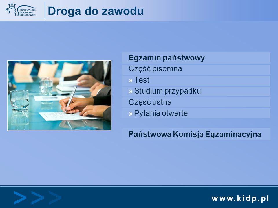 www.kidp.pl >>>>>> Droga do zawodu Egzamin państwowy Część pisemna »Test »Studium przypadku Część ustna »Pytania otwarte Państwowa Komisja Egzaminacyj