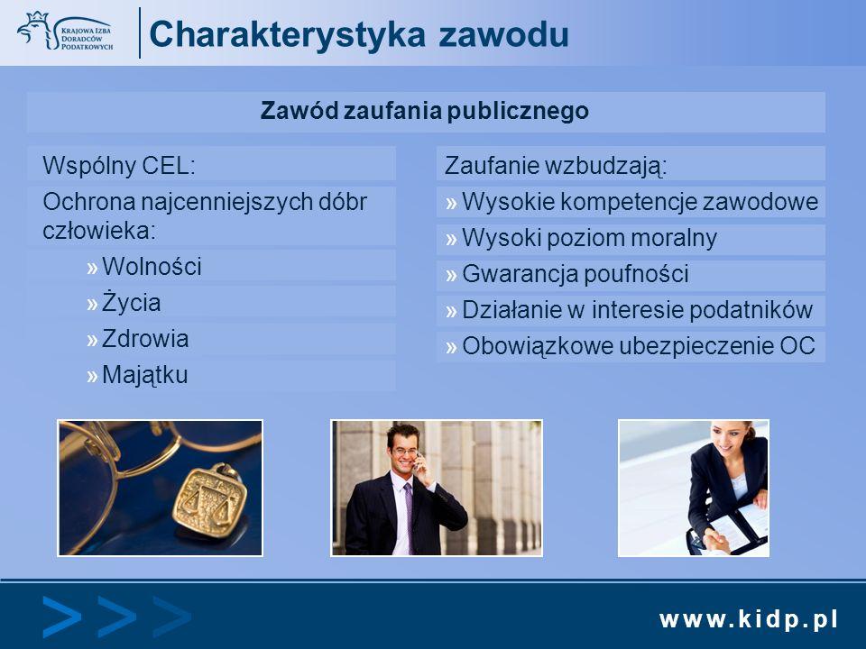www.kidp.pl >>>>>> Charakterystyka zawodu Zawód zaufania publicznego Wspólny CEL: Ochrona najcenniejszych dóbr człowieka: »Wolności »Życia »Zdrowia »M